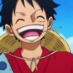 Imágen tomada de 'One Piece' con un primer plano de Luffy riendo.