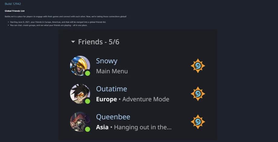 Lista de amigos en Battle.net.