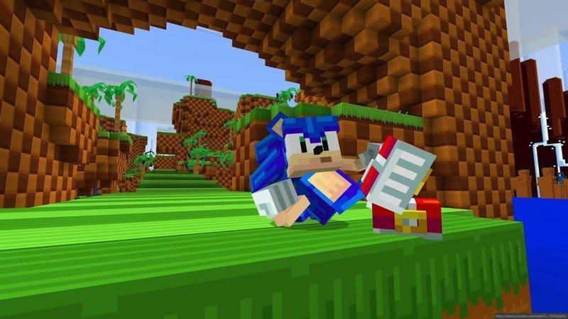Sonic en Minecraft.